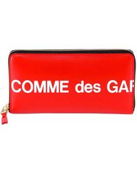 COMME DES GARÇONS PLAY Comme Des Garçons Play Contrasting Zip Around Logo Wallet - Red
