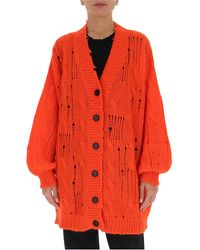 MSGM Distressed Knitted Long Cardigan - Orange
