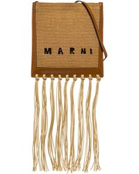 Marni Crossbody Bag In Raffia And Leather With Fringes - Multicolor