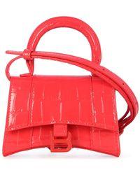 Balenciaga Hourglass Mini Top Handle Bag - Red