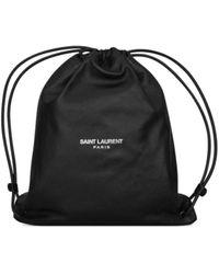 Saint Laurent Teddy Drawstring Backpack - Black
