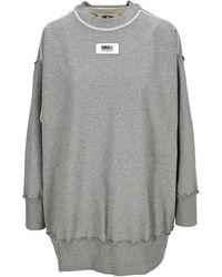 MM6 by Maison Martin Margiela Cut-out Crewneck Sweatshirt - Grey