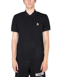 Moschino Regular Fit Cotton Piqué Polo Shirt With Teddy Bear Patch - Black