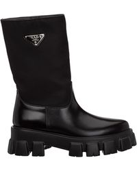 Prada Logo Plaque Slip-on Ankle Boots - Black