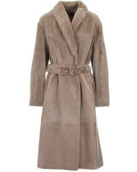 Brunello Cucinelli Reversible Belted Teddy Coat - Natural