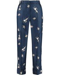 Max Mara Sansa Printed Twill Trousers - Blue