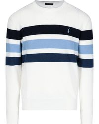 Polo Ralph Lauren Logo Striped Sweater - White