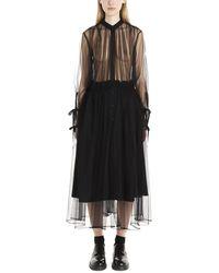 Noir Kei Ninomiya Tulle Sheer Shirt Dress - Black