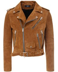 Amiri Classic Leather Biker Jacket - Brown