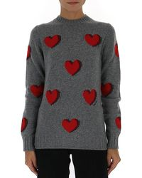 Prada Heart Jacquard Jumper - Grey