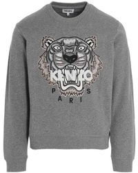KENZO Tiger Logo Embroidered Sweatshirt - Grey