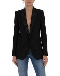 Saint Laurent Sequin-lapel Blazer - Black