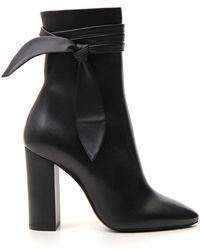 Saint Laurent Wrap Bow Detail Boots - Black