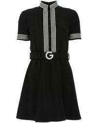 Gucci Belted Crepe Dress - Black