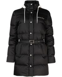 Miu Miu Belted Puffer Down Jacket - Black