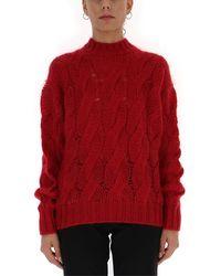 Prada Cable-knit Crewneck Jumper - Red