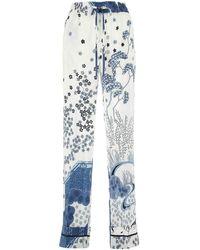 RED Valentino Redvalentino Oriental Toile De Jouy Print Pants - Blue
