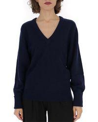 Chloé V-neck Knitted Sweater - Blue