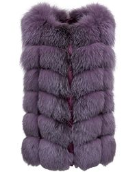 FRAME Purple Fur And Nylon Vest