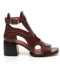Chloé Gaile Cut-out Sandals - Brown