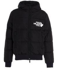 DSquared² Logo Print Hooded Down Jacket - Black
