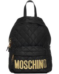 Moschino Logo Quilted Backpack - Black