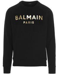 Balmain Metallic Logo Printed Sweatshirt - Black