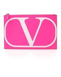 Valentino Vlogo Clutch Bag - Pink