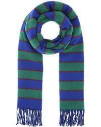 KENZO Striped Fringed Scarf - Blue