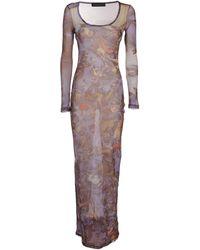 Y. Project Nostalgia Round-neck Maxi Dress - Purple