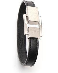 Saint Laurent Logo Engraved Bracelet - Black
