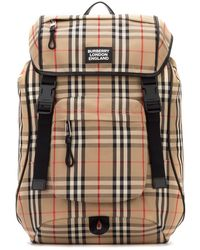 Burberry Vintage Check Logo Backpack - Brown
