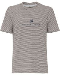 Brunello Cucinelli Logo Printed Striped T-shirt - Grey
