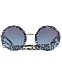 Chanel Round Frame Chain Sunglasses - Metallic