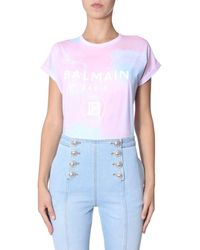 Balmain Tie-dye Logo T-shirt - Pink