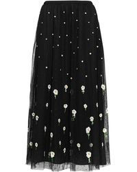 RED Valentino Floral Embroidered Tulle Midi Skirt - Black