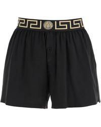 Versace Silk Satin Shorts With Greca - Black
