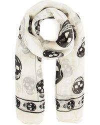Alexander McQueen Skull Scarf - White
