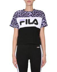 "Fila ""allison"" Cotton T-shirt With Logo And Animal Print - Black"