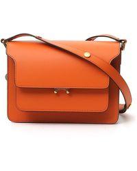 Marni Trunk Shoulder Bag In Orange Leather