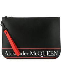 Alexander McQueen Leather Clutch Uomo - Black