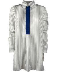 Plan C Pinstripe Paneled Shirt - White