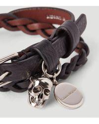 Alexander McQueen - Double-wrap Braided Leather Bracelet - Lyst