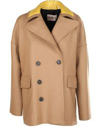 Plan C Double-breasted Peacoat - Natural