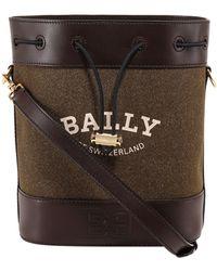 Bally Logo Printed Bucket Bag - Green