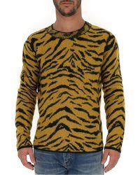 Saint Laurent Zebra Knitted Jumper - Yellow