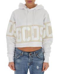 Gcds Colour-block Cropped Hoodie - White
