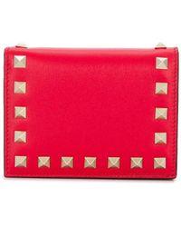 Valentino Garavani Rockstud Folded Wallet - Red
