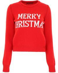 Alberta Ferretti Red Wool Sweater