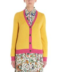 Tory Burch Contrast-trimmed Cashmere Cardigan - Yellow